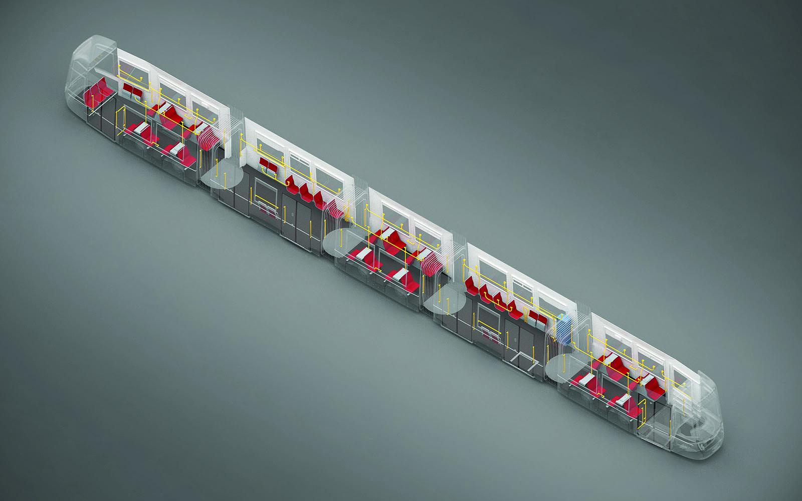 Grafik Flexity Wien, neue Straßenbahn für Wien. 3D-Ansicht