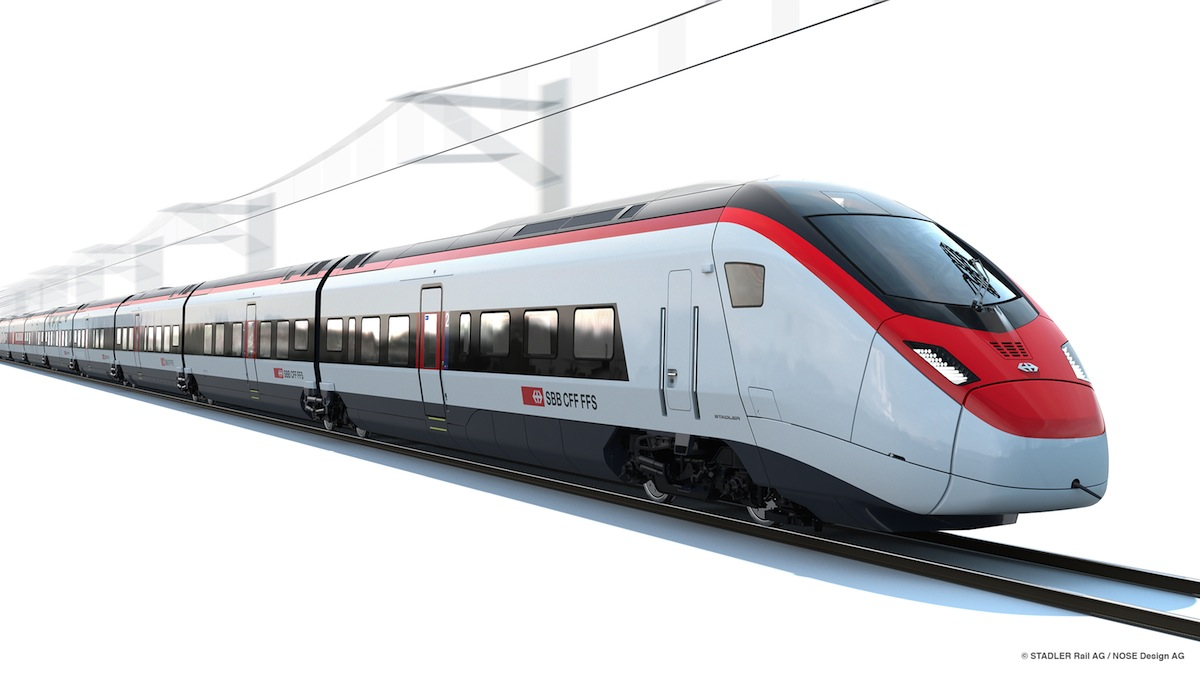 Design impression of the Stadler Rail EC250 (Giruno) in the livery of SBB. Copyright Stadler Rail