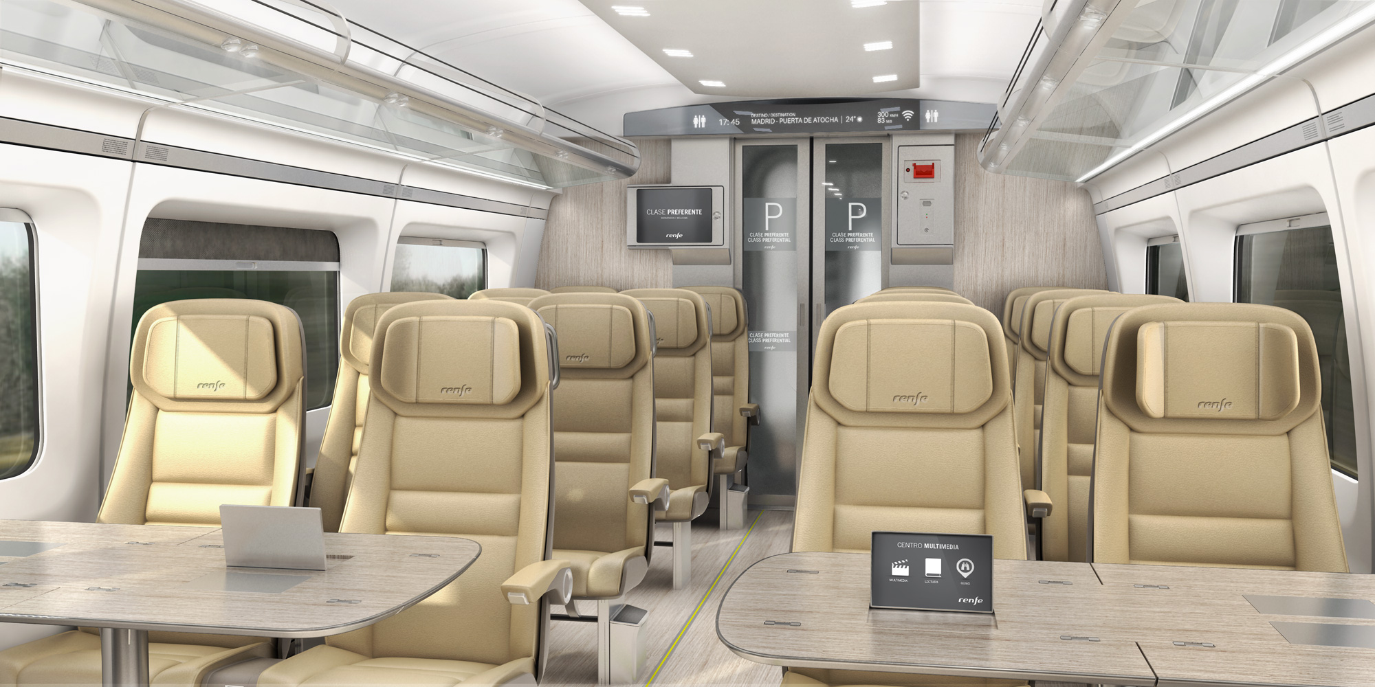Interior design of the Renfe Avril: 'Preferente' class