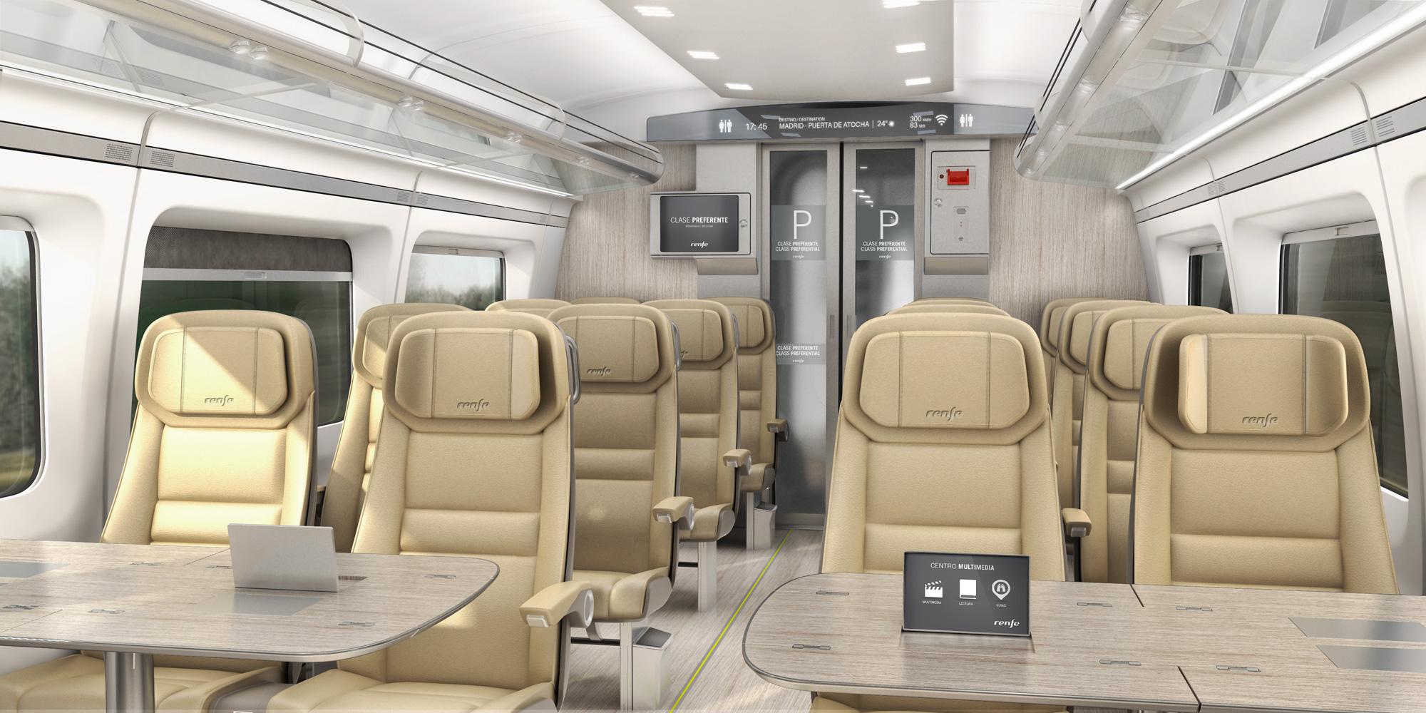 Interior design of the Renfe Avril: 'Preferente' class