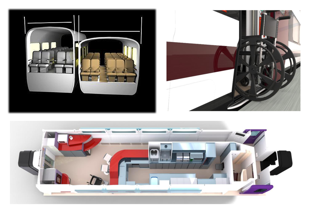 Talgo body design principle: wider, lower / bistro design. Source: ministro de Fomento